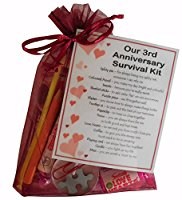 3rd Anniversary Survival Kit Gift  - Great novelty present for third anniversary or wedding anniversary for boyfriend, girlfriend, husband, wife