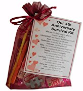 4th Anniversary Survival Kit Gift  - Great novelty present for fourth anniversary or wedding anniversary for boyfriend, girlfriend, husband, wife