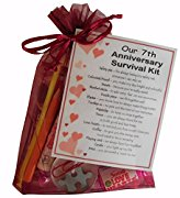 7th Anniversary Survival Kit Gift  - Great novelty present for seventh anniversary or wedding anniversary for boyfriend, girlfriend, husband, wife