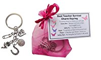 Best Teacher Survival Charm KEYRING - Handmade Teacher Gift for Teacher