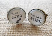 Bronze Effect Born to GOLF, Forced to WORK Cufflinks