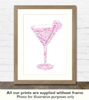 Cosmopolitan Cocktail Art Print - Great gift idea for house warming, birthdays or christmas
