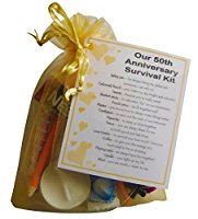 Golden 50th Anniversary Survival Kit Gift  - Great novelty present for gold anniversary or wedding anniversary for husband, wife