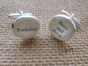 "Gun Metal Handcrafted ""Yorkshire Born and Bred"" Cufflinks - Fun Christmas gift for him, Yorkshireman gift for him"