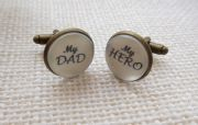 Gun Metal My DAD, My HERO cufflinks