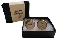 "Handcrafted ""Trust Me - I'm a Travel Agent"" Cuff links - Excellent Christmas, thank you, birthday, valentines gift"
