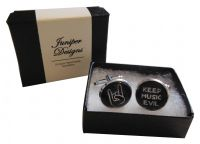 Handcrafted Keep Music Evil Cuff links - Fun Valentine's Day, Christmas, thank you or birthday gift for a Metal Head