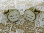 "Handcrafted ""Marry me today, love me forever"" Groom cufflinks , wedding cufflinks, groom gift, Free UK Shipping"