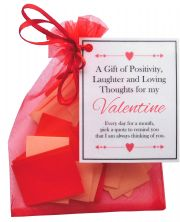 Handmade Valentine Gift Quotes of Positivity, Laughter and Loving Thoughts. 31 inspirational quotes for each day of the month. Letterbox friendly.