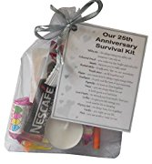 Silver 25th Anniversary Survival Kit Gift  - Great novelty present for silver anniversary or wedding anniversary for husband, wife