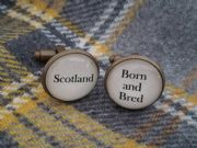 "Silver Effect Handcrafted ""Scotland Born and Bred"" Cufflinks - Fun Christmas gift for him, Scottish gift for Scot"