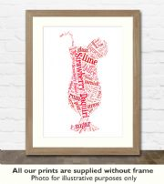 Strawberry Daiquiri Cocktail Art Print - Great gift idea for house warming, birthdays or christmas
